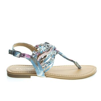 Bonzi Light Blue Multi by City Classified, Women's Psychedelic Dyed Fabric Thong Flat Sandal w Butterfly