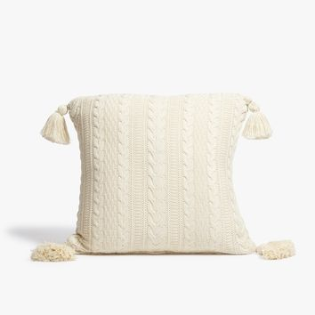 Beige Cable Knit Throw Pillow