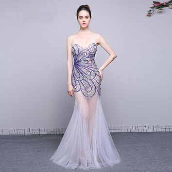 Evening Dresses Long Sexy Mermaid Beaded Sweetheart Evening Dress Floor Length Prom Party Gowns