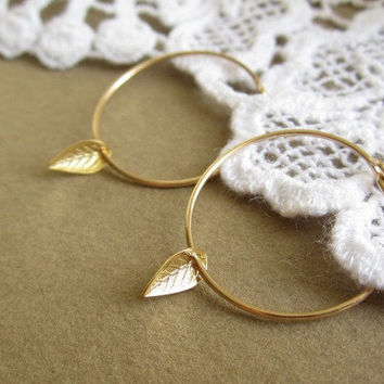 Tiny Leaf Gold Hoops Earrings - gold leaf on 14k gold filled hoops - dainty everyday jewelry