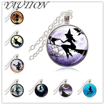 Sexy Witch with Broom Necklace Full Moon Pendant Wiccan Pagan Jewelry Glass Cabochon Sweater Chain Necklace Cat Jewellery gift