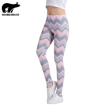 Stripe Pritned Leggings for Women Fitness Leggings Bodybuilding Pantalons Brand Workout Sexy Mujuer Trouser Traingles WAIBO BEAR
