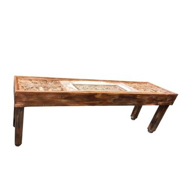 Antique Indian Tribal Carving Haveli Stone Extra Long Wooden Console