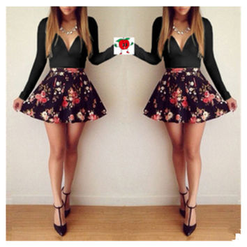 Sexy Women's Long Sleeve Casual Casual Summer Cocktail Party Short Slim Dress Black
