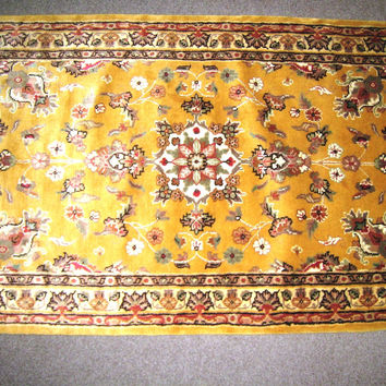 3x5 Pakistani Rug Sindhi Yellow Silk Wool Blend