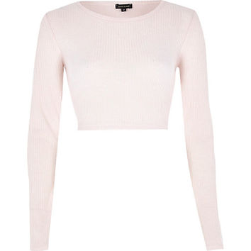 River Island Womens Light pink long sleeve crop top