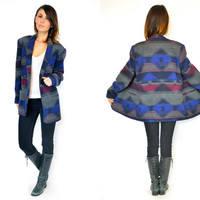 southwestern GEOMETRIC boho hippie native oversized BOYFRIEND JACKET blazer coat, small-medium