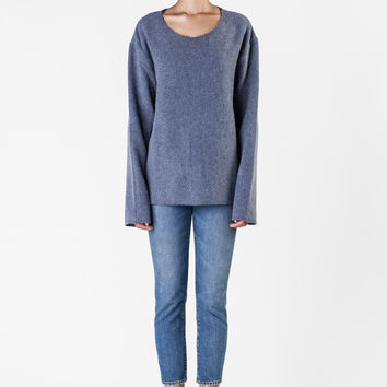 The Elder Statesman  - Light Blue Cashmere Sweatshirt