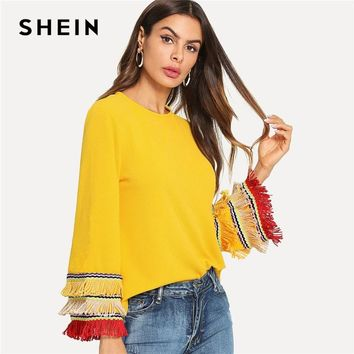 SHEIN Yellow Embroidery Tape And Fringe Bell Sleeve Textured Blouse Colorblock Tiered Layer Women Flounce Sleeve Tops