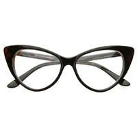TWIGGY CAT EYE RETRO CLEAR FRAMES - TORTOISE