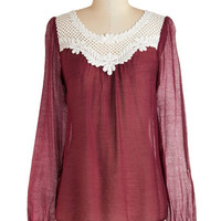 ModCloth Mid-length Long Sleeve Crochet You Will Top
