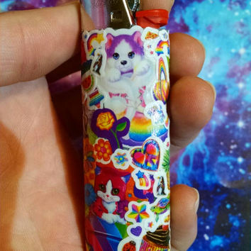 Rainbow Sticker Collage Lighter - Lisa Frank Inspired Functional Collage Art