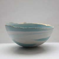 Stoneware Parian porcelain bowl in duck egg blue with marble effect and mat gold rims.