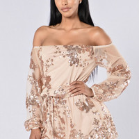 Off-Shoulder Sequin Detail Tie-Waist Romper