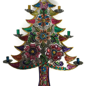 Mexican Tin Art Christmas Tree, Tin Art Christmas Tree, Mexican Christmas Decor, Mexican Folk Art, Christmas Tree Candelabra