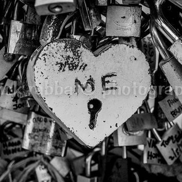 Heart ME Fine Art Photography Black And White Paris Famous Locks Romantic Lovers Valentines Day Urban