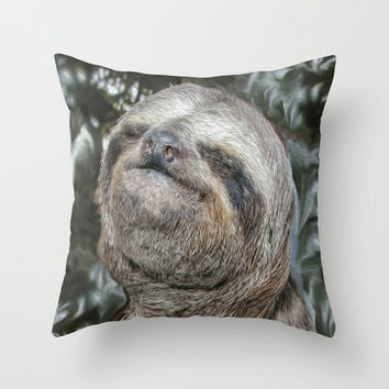 Sloth Throw Pillow by Bruce Stanfield