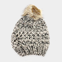 Women's Beige Two Tone Cable Knit Fur Pom Pom Beanie Cap Hat