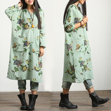 Loose fitting cotton long sleeve large size  spring and autumn v neck dress