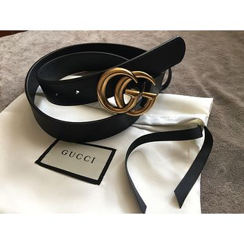 Authentic New Women Gucci Double GG Buckle Belt Size 85cm 27-30 Waist