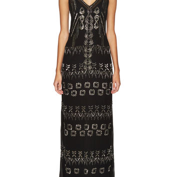 Nicole Miller Women's Tribal Trance V-Neck Gown - Black -