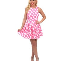 1960s Style Pink & White Floral Halter Cut Out Scuba Flare Dress