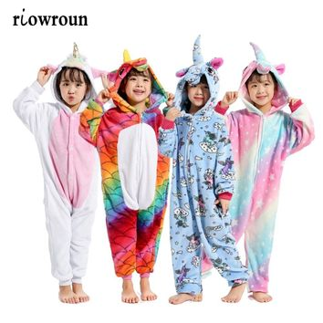 Halloween Children Kigurumi Anime Kids Costumes Cosplay Cartoon Animal Sleepwear Stitch Unicorn  Winter Warm Hooded 2018Kawaii Pokemon go  AT_89_9