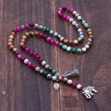 Natural Stone Beads with Owl and Elephant Tassel Charm Knotted Statement Long Necklace