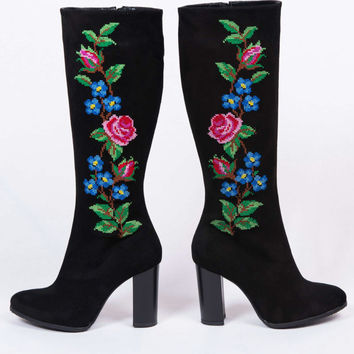 NEW High Hells Black Suede Flower Embroidery Boots GoGo Boots