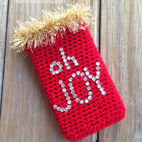 Christmas phone case red w rhinestones, All sizes, Ugly Christmas phone cover, Crocheted Christmas phone cover, Oh Joy Christmas Phone cover