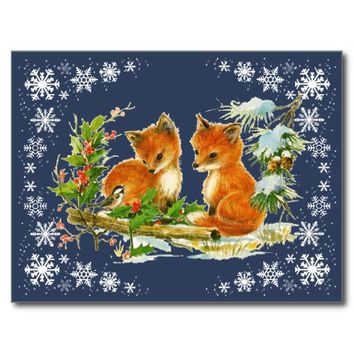 Baby Foxes Snow Blue Postcard