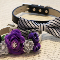 Purple silver dog collar, floral collar, bow tie collar