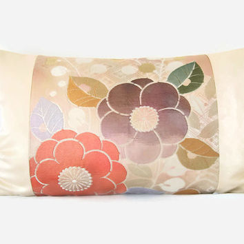 "Decorative Pillow Cushion in Cream & Light Gold Floral Vintage Japanese Kimono Silk With Feather Insert 50 x 30 cm ( 12"" x 19.5"")"