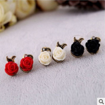 3 pcs(1 black 1 white 1 red) European style Vintage Mixed Color Rose earrings Stud Earrings Jewelry for women = 1668784068