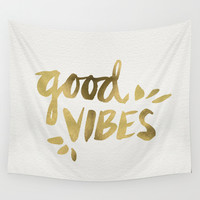 Good Vibes – Gold Ink Wall Tapestry by Cat Coquillette