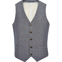 River Island MensBlue crosshatch single breasted vest