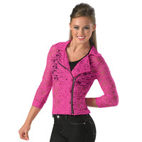 Bright Neon Floral Lace Motorcycle Jacket; Balera
