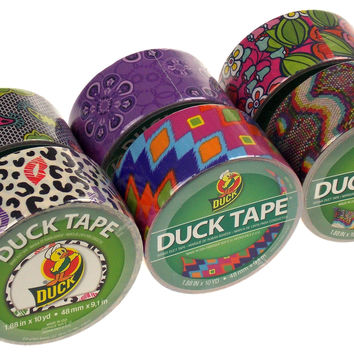 "Lot 6 Assorted Duck Tape Duct 1.88""x10yd Cheetah Lace Flower Purple Ikat Fever"