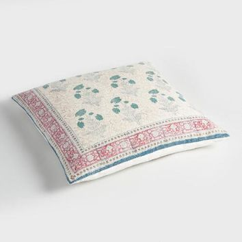 Floral Patchwork Dhurrie Floor Cushion