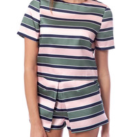 Charming Brocade Stripe Top - Multi Stripe