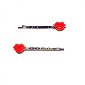Red Lips Bobby Pins Cabochon Hair Pins Party Bachelorette Accessories