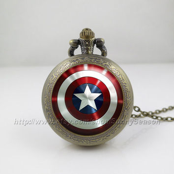 Captain America Pocket Watch,Captain America Shield Necklace,the avengers superhero Locket necklace,Pocket Watch,style 1