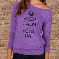 Keep Calm and Yoga On Carry on Parody Womens Long sleeve Pullover shirt silkscreen