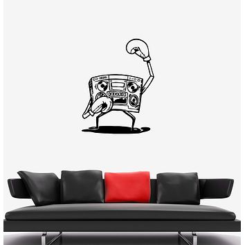 Wall Decal Cassette Recorder Boxer Sports Athlete Boxing Vinyl Sticker (ed1297)