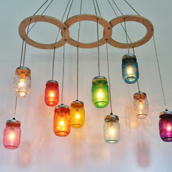 Rainbow Canopy MASON JAR CHANDELIER - Upcycled Handcrafted BootNGus Hanging Lighting Fixture - Rustic Modern Country Home Mason Jar Lamp