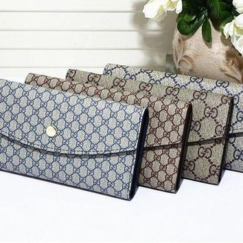 DCCK Gucci' Unisex Purse Fashion Classic Retro Double GG Print Multi-card Bit Button Three Fold Wallet