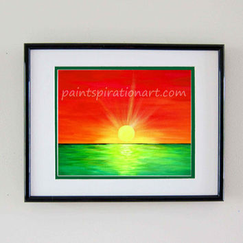 Print Beach Sunrise Bob Marley Inspired Art Original Painting - Rasta Colors Red Yellow Green Sun Home Decor Artwork