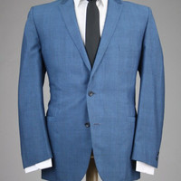 Vintage 60s Tempo Blue Check/Plaid Sharkskin Wool 2 Piece Suit 44 R