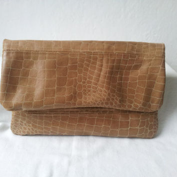 brown recycled leather envelope clutch bag, leather foldover clutch, leather snake skin, brown leather clutch bag, brown leather purse