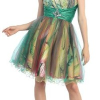 US Fairytailes Strapless Cocktail Party Junior Prom Short Printed Dress #2300